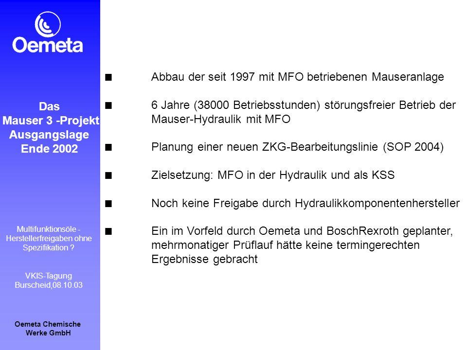 Oemeta Chemische Werke GmbH Multifunktionsöle - Herstellerfreigaben ohne Spezifikation ? VKIS-Tagung Burscheid,08.10.03 Das Mauser 3 -Projekt Ausgangs
