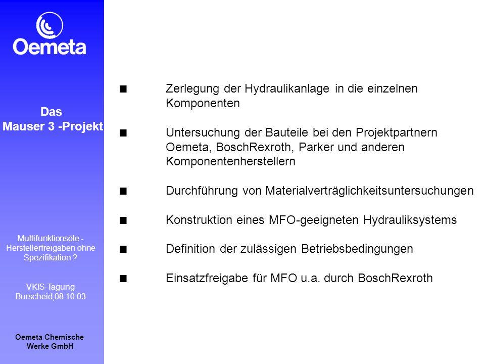 Oemeta Chemische Werke GmbH Multifunktionsöle - Herstellerfreigaben ohne Spezifikation ? VKIS-Tagung Burscheid,08.10.03 Das Mauser 3 -Projekt Zerlegun