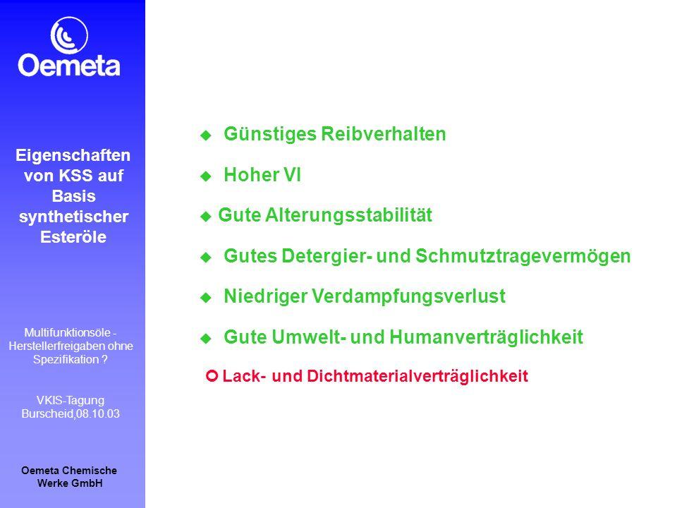 Oemeta Chemische Werke GmbH Multifunktionsöle - Herstellerfreigaben ohne Spezifikation ? VKIS-Tagung Burscheid,08.10.03 Günstiges Reibverhalten Hoher