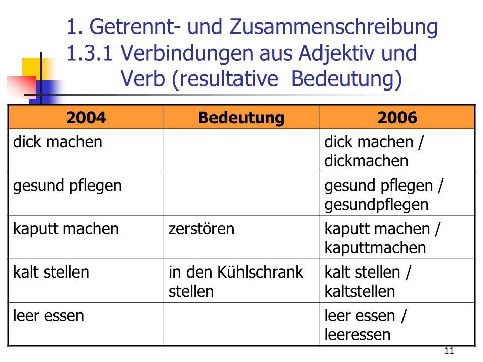 11 1. Getrennt- und Zusammenschreibung 1.3.1 Verbindungen aus Adjektiv und Verb (resultative Bedeutung) 2004Bedeutung2006 dick machendick machen / dic
