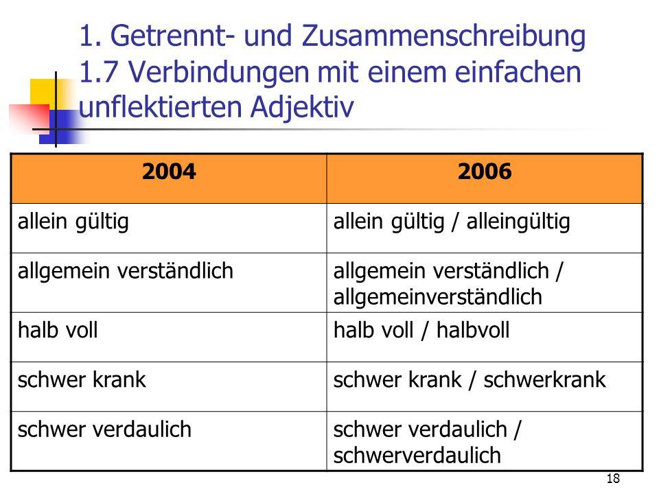 18 1. Getrennt- und Zusammenschreibung 1.7 Verbindungen mit einem einfachen unflektierten Adjektiv 20042006 allein gültigallein gültig / alleingültig