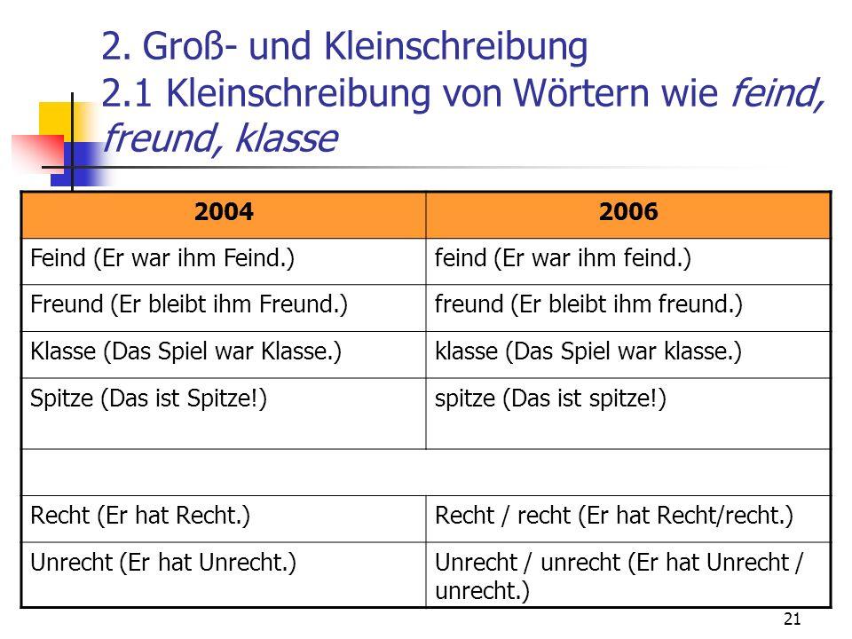 21 2. Groß- und Kleinschreibung 2.1 Kleinschreibung von Wörtern wie feind, freund, klasse 20042006 Feind (Er war ihm Feind.)feind (Er war ihm feind.)