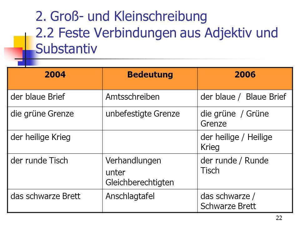 22 2. Groß- und Kleinschreibung 2.2 Feste Verbindungen aus Adjektiv und Substantiv 2004Bedeutung2006 der blaue BriefAmtsschreibender blaue / Blaue Bri