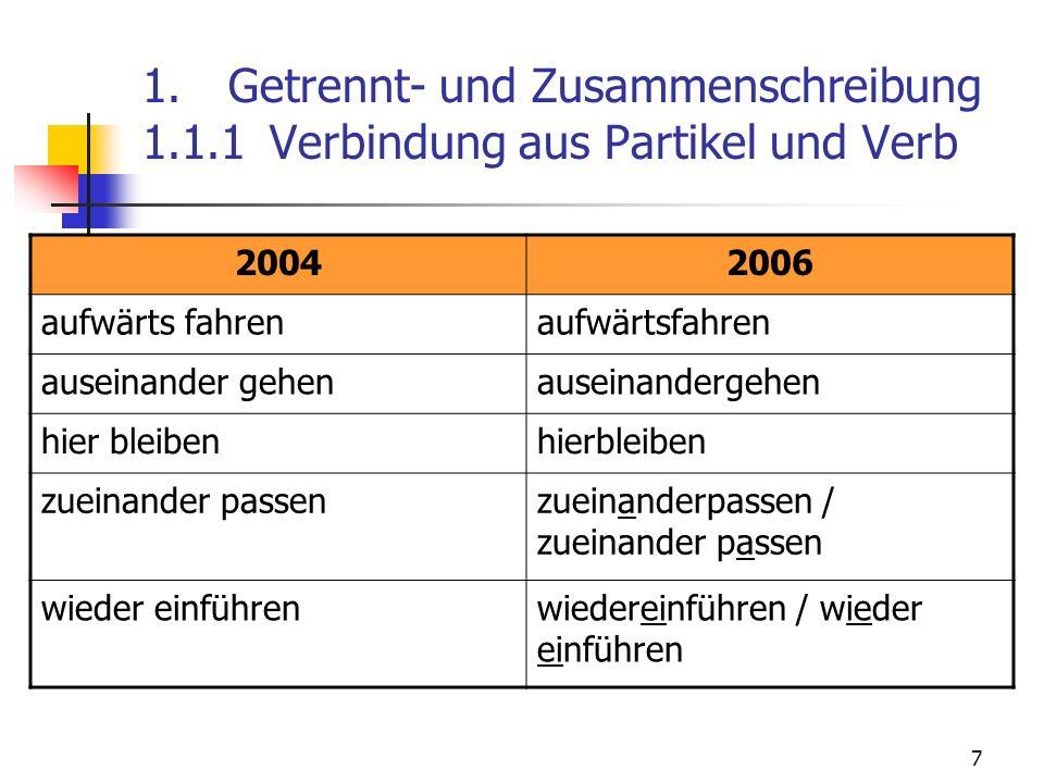 7 1. Getrennt- und Zusammenschreibung 1.1.1 Verbindung aus Partikel und Verb 20042006 aufwärts fahren auseinander gehen hier bleiben zueinander passen