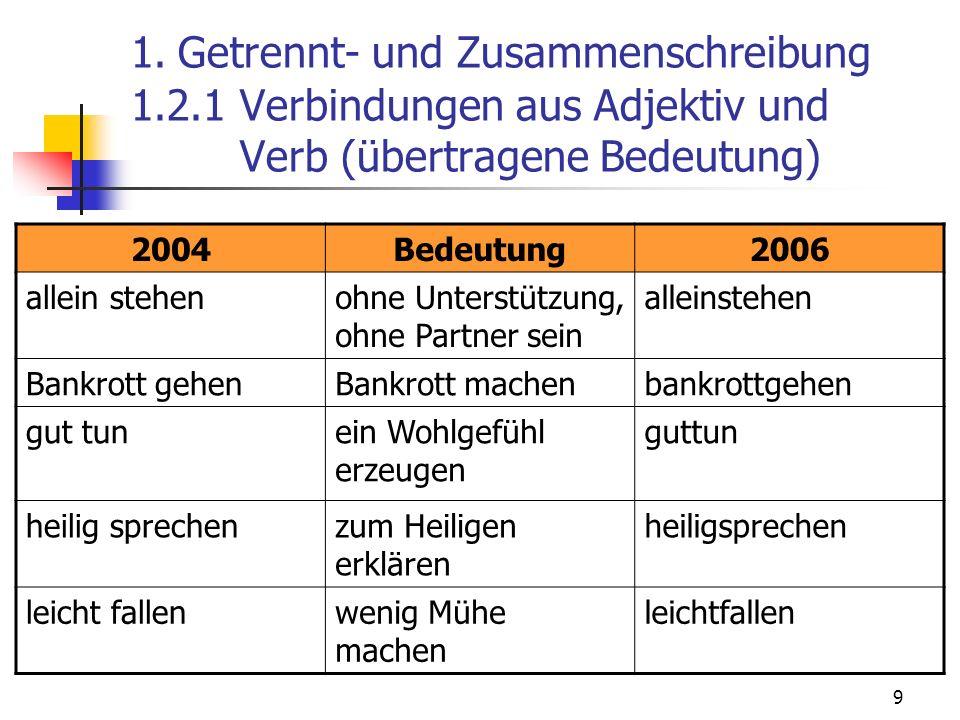 9 1. Getrennt- und Zusammenschreibung 1.2.1 Verbindungen aus Adjektiv und Verb (übertragene Bedeutung) 2004Bedeutung2006 allein stehenohne Unterstützu
