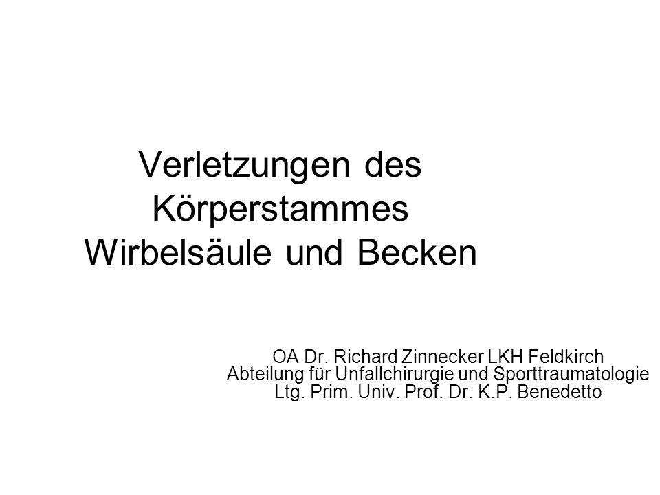 Verletzungen des Körperstammes Wirbelsäule und Becken OA Dr. Richard Zinnecker LKH Feldkirch Abteilung für Unfallchirurgie und Sporttraumatologie Ltg.
