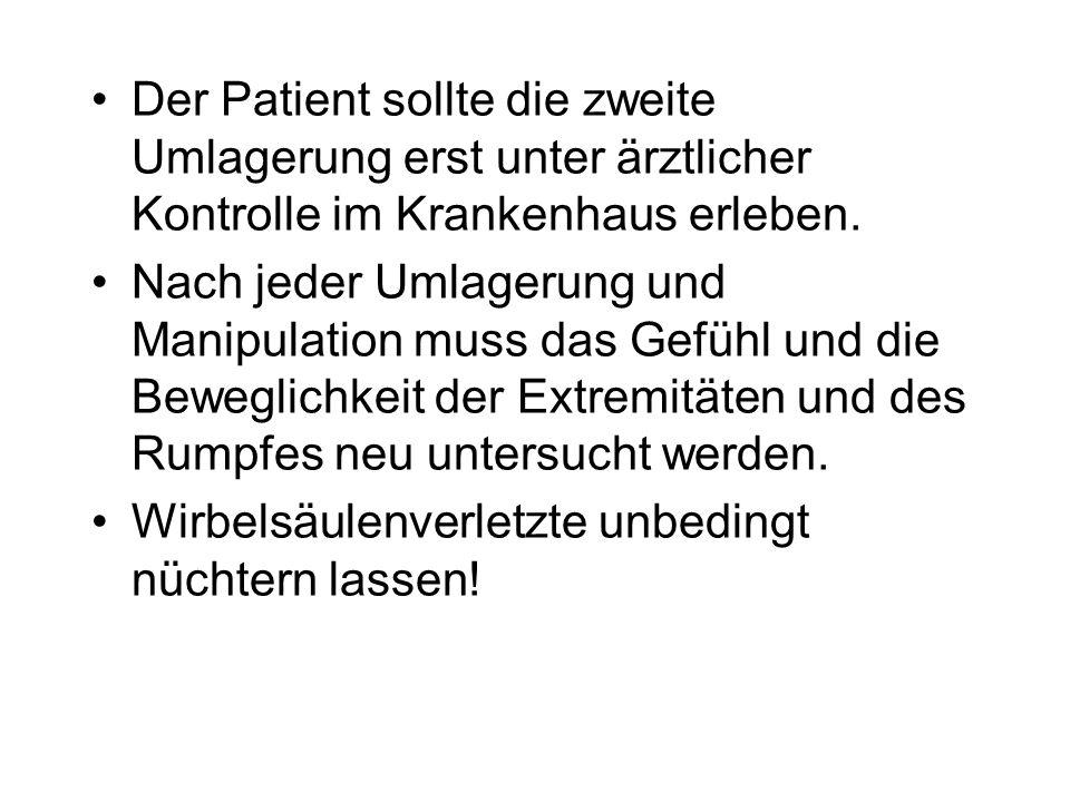 Der Patient sollte die zweite Umlagerung erst unter ärztlicher Kontrolle im Krankenhaus erleben. Nach jeder Umlagerung und Manipulation muss das Gefüh
