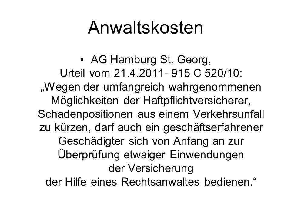 Anwaltskosten AG Hamburg St.