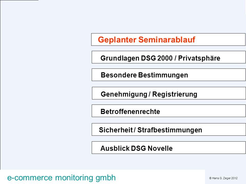 © Hans G. Zeger 2012 e-commerce monitoring gmbh Grundlagen DSG 2000 / Privatsphäre Ausblick DSG Novelle Besondere Bestimmungen Genehmigung / Registrie