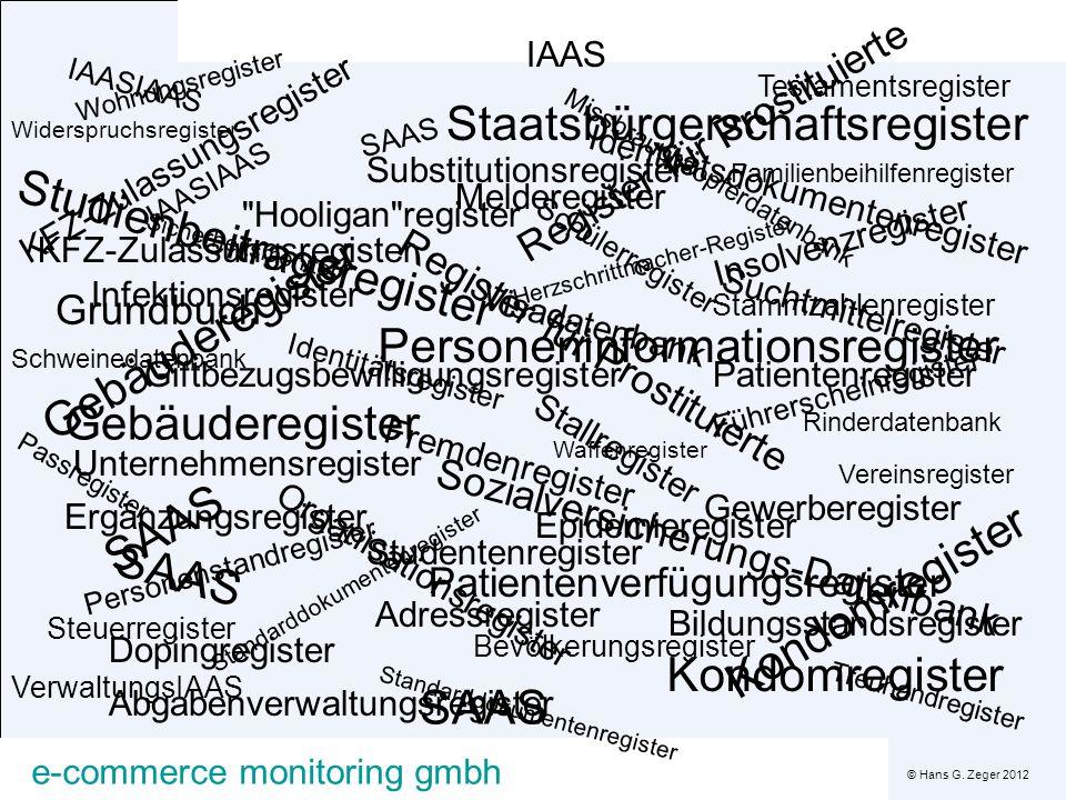 © Hans G. Zeger 2012 e-commerce monitoring gmbh Missbrauchsopferdatenbank Melderegister Kondomregister KFZ-Zulassungsregister Insolvenzregister Infekt