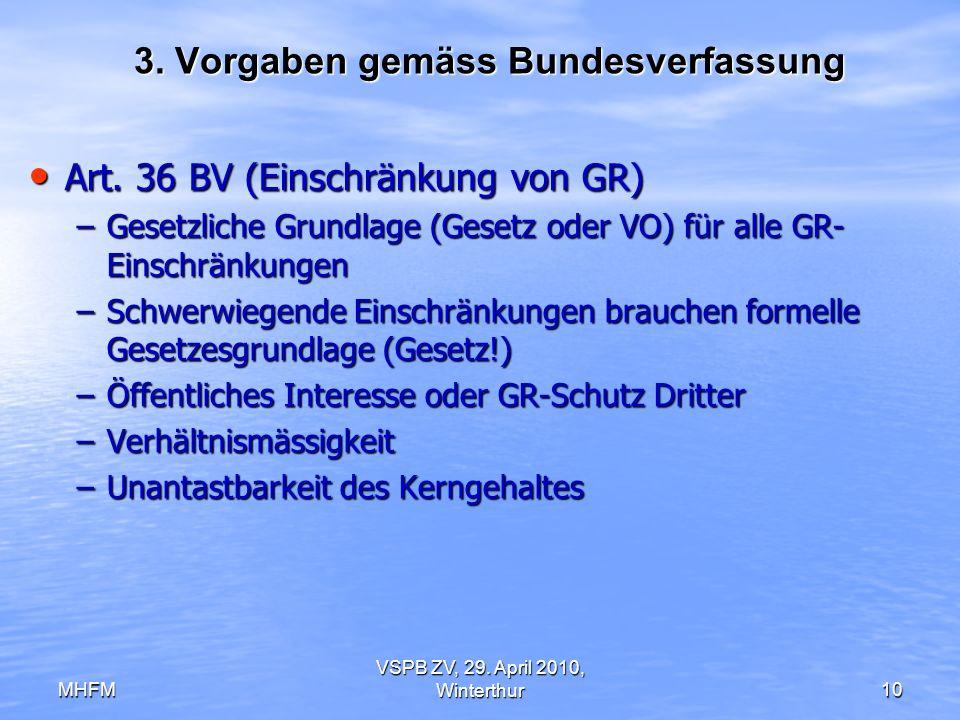 MHFM VSPB ZV, 29. April 2010, Winterthur10 3. Vorgaben gemäss Bundesverfassung Art. 36 BV (Einschränkung von GR) Art. 36 BV (Einschränkung von GR) –Ge
