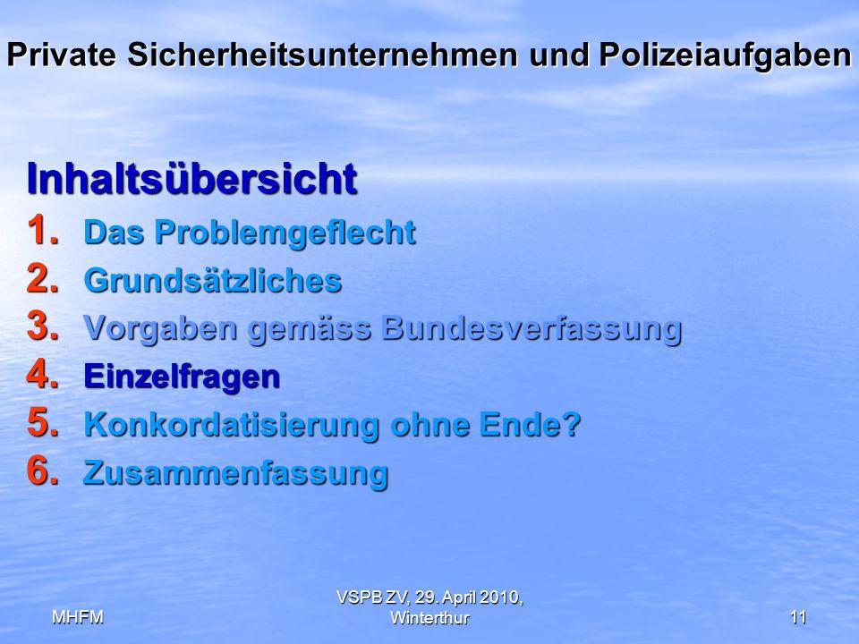 MHFM VSPB ZV, 29. April 2010, Winterthur11 Private Sicherheitsunternehmen und Polizeiaufgaben Inhaltsübersicht 1. Das Problemgeflecht 2. Grundsätzlich