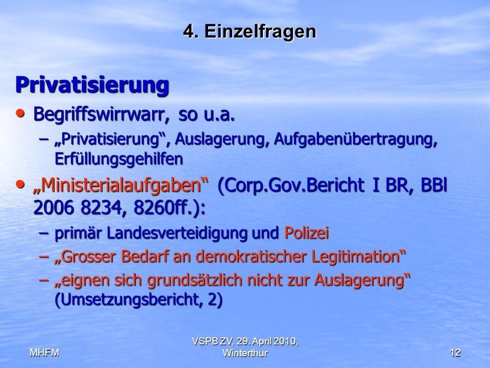 MHFM VSPB ZV, 29. April 2010, Winterthur12 4. Einzelfragen Privatisierung Begriffswirrwarr, so u.a. Begriffswirrwarr, so u.a. –Privatisierung, Auslage