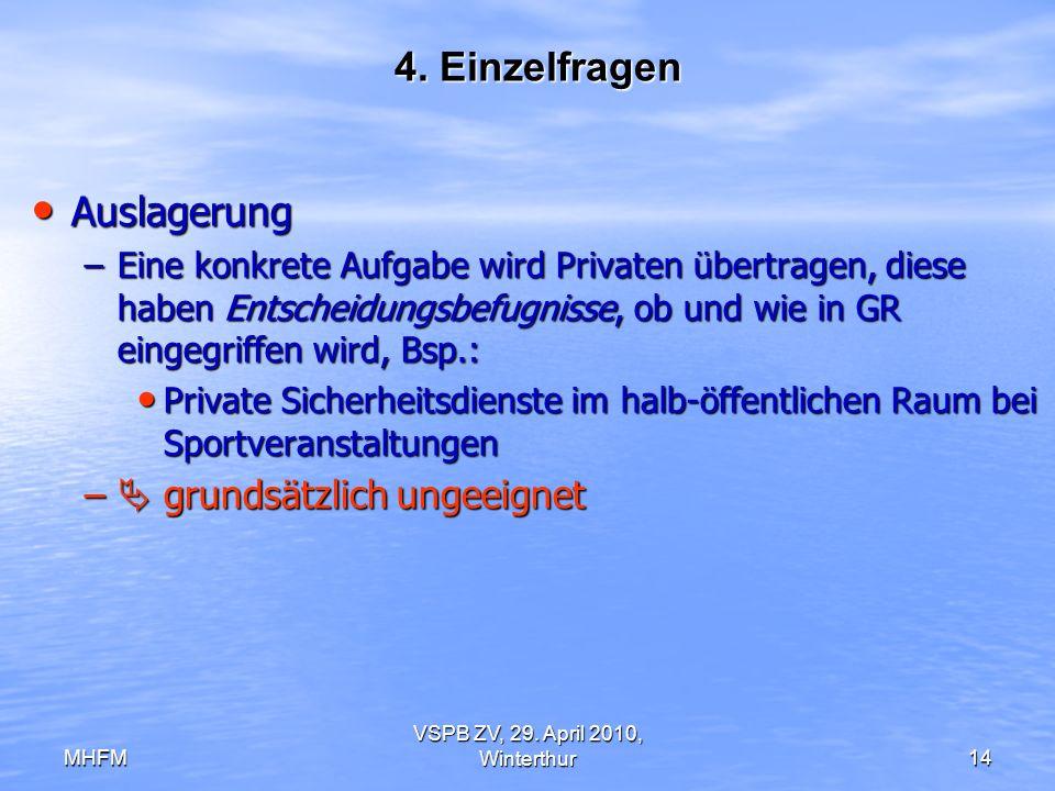 MHFM VSPB ZV, 29. April 2010, Winterthur14 4. Einzelfragen Auslagerung Auslagerung –Eine konkrete Aufgabe wird Privaten übertragen, diese haben Entsch