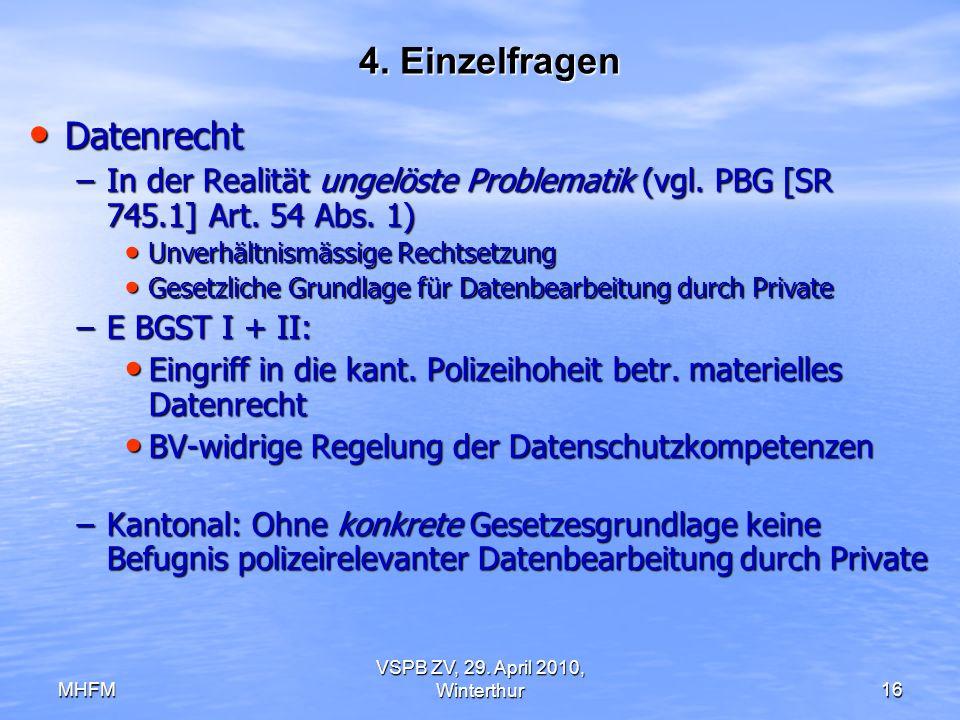 MHFM VSPB ZV, 29. April 2010, Winterthur16 4. Einzelfragen Datenrecht Datenrecht –In der Realität ungelöste Problematik (vgl. PBG [SR 745.1] Art. 54 A
