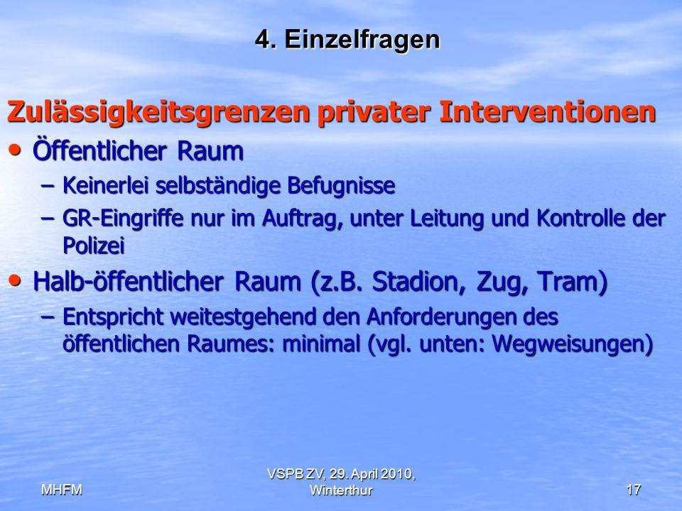 MHFM VSPB ZV, 29. April 2010, Winterthur17 4. Einzelfragen Zulässigkeitsgrenzen privater Interventionen Öffentlicher Raum Öffentlicher Raum –Keinerlei