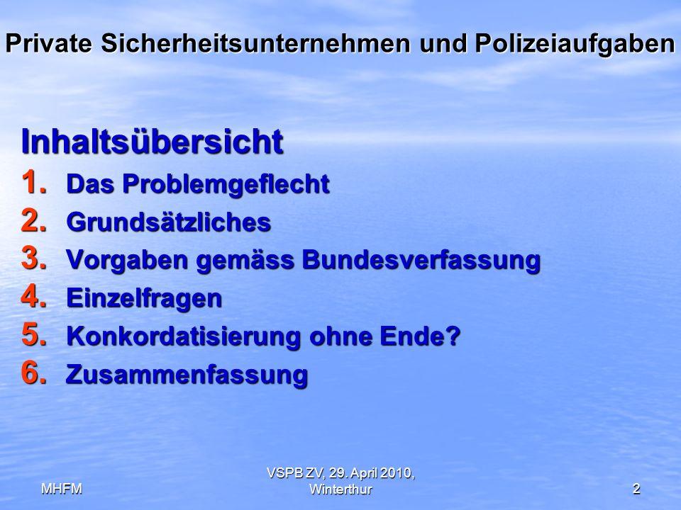 MHFM VSPB ZV, 29. April 2010, Winterthur2 Private Sicherheitsunternehmen und Polizeiaufgaben Inhaltsübersicht 1. Das Problemgeflecht 2. Grundsätzliche