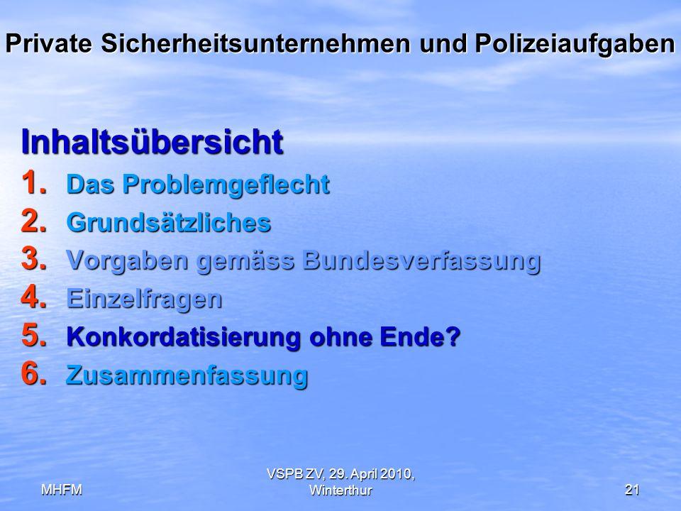 MHFM VSPB ZV, 29. April 2010, Winterthur21 Private Sicherheitsunternehmen und Polizeiaufgaben Inhaltsübersicht 1. Das Problemgeflecht 2. Grundsätzlich