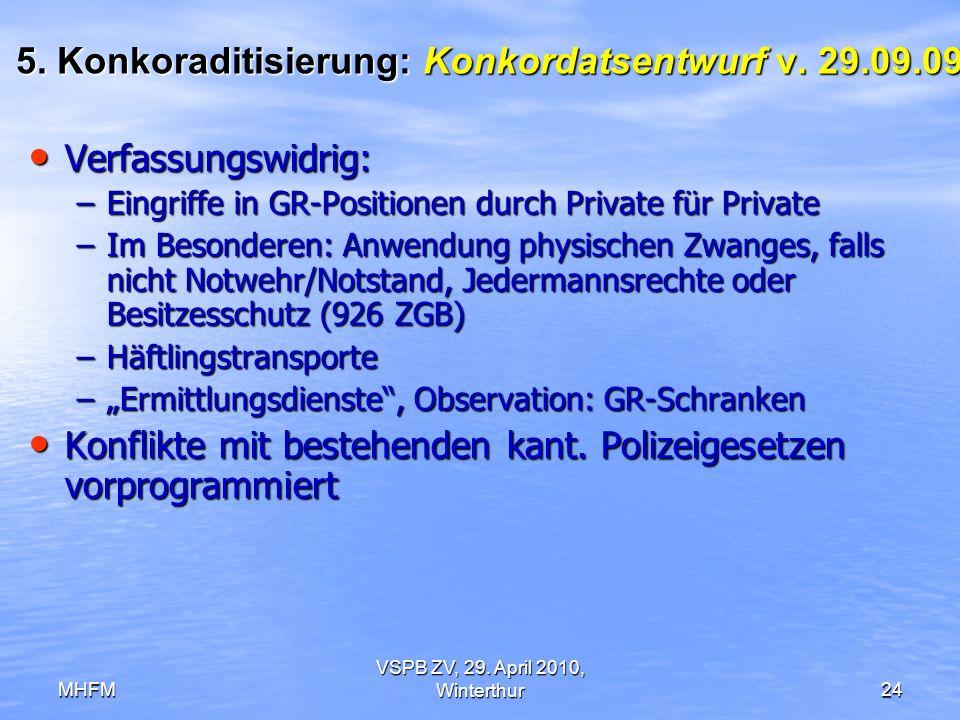 MHFM VSPB ZV, 29. April 2010, Winterthur24 5. Konkoraditisierung: Konkordatsentwurf v. 29.09.09 Verfassungswidrig: Verfassungswidrig: –Eingriffe in GR