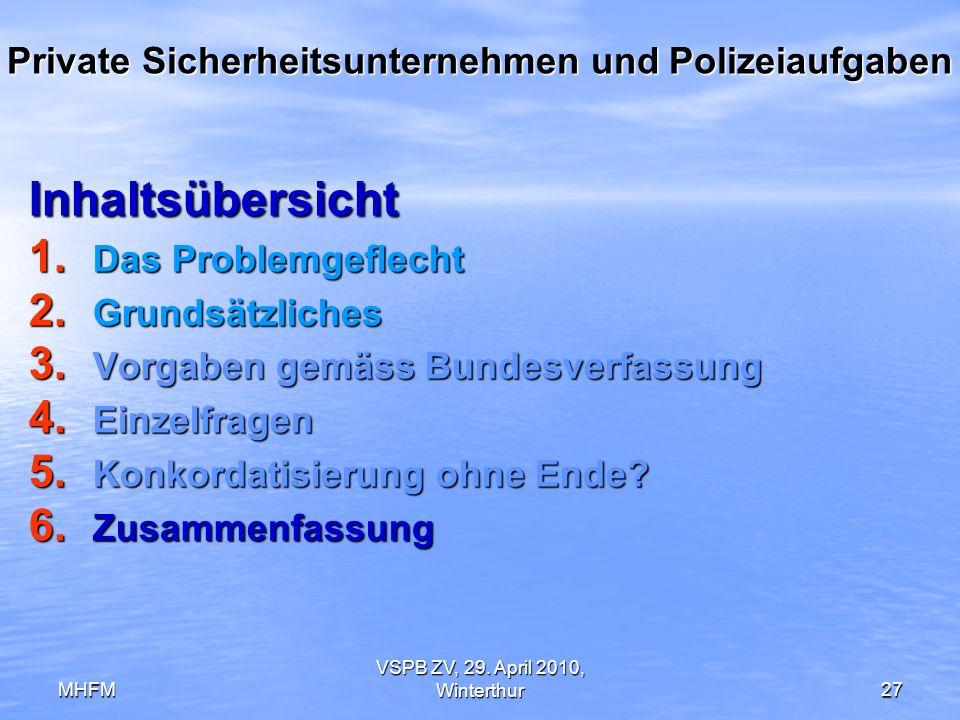 MHFM VSPB ZV, 29. April 2010, Winterthur27 Private Sicherheitsunternehmen und Polizeiaufgaben Inhaltsübersicht 1. Das Problemgeflecht 2. Grundsätzlich