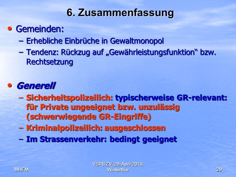 MHFM VSPB ZV, 29. April 2010, Winterthur29 6. Zusammenfassung Gemeinden: Gemeinden: –Erhebliche Einbrüche in Gewaltmonopol –Tendenz: Rückzug auf Gewäh