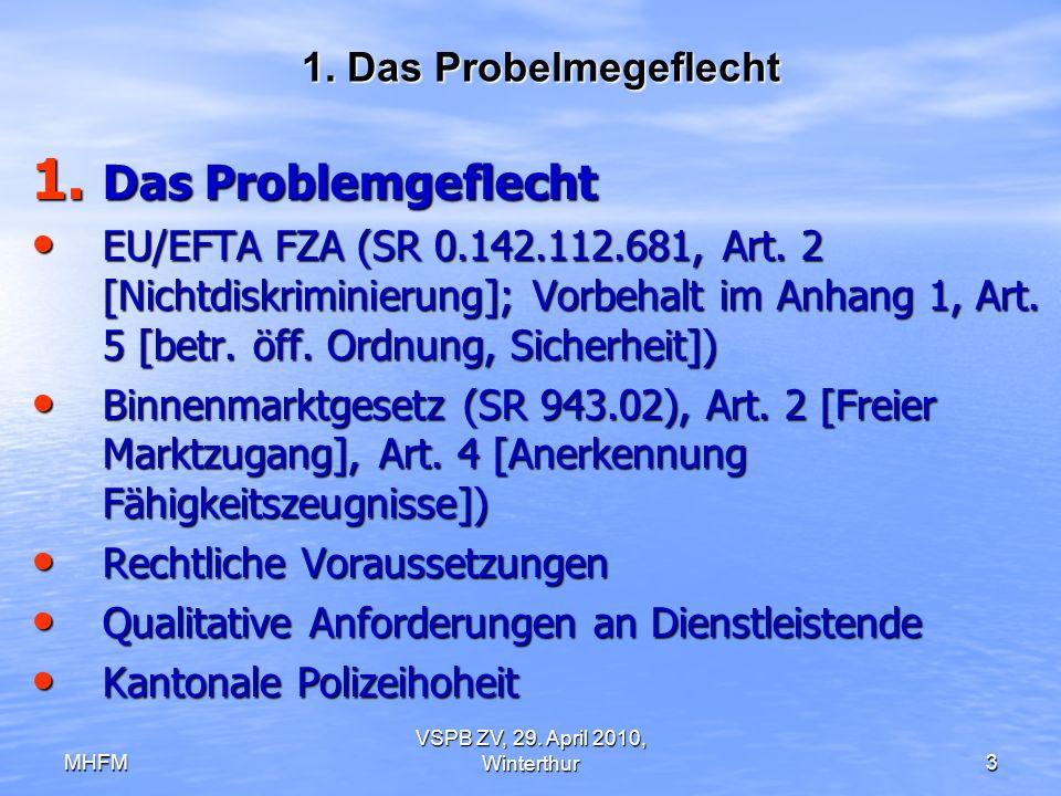 MHFM VSPB ZV, 29. April 2010, Winterthur3 1. Das Probelmegeflecht 1. Das Problemgeflecht EU/EFTA FZA (SR 0.142.112.681, Art. 2 [Nichtdiskriminierung];