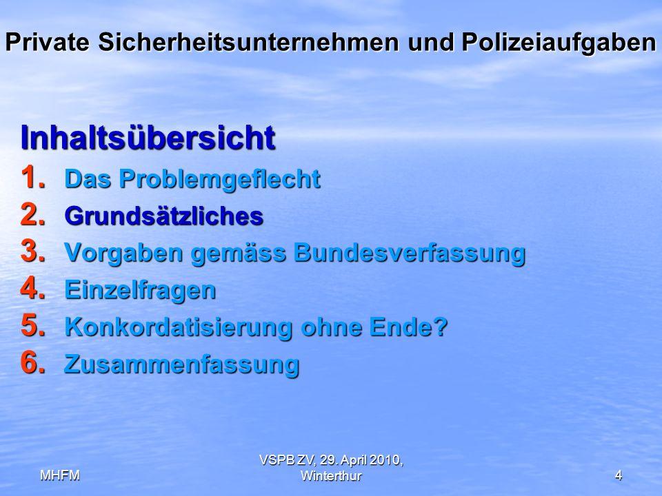 MHFM VSPB ZV, 29. April 2010, Winterthur4 Private Sicherheitsunternehmen und Polizeiaufgaben Inhaltsübersicht 1. Das Problemgeflecht 2. Grundsätzliche