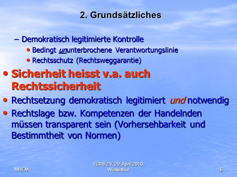 MHFM VSPB ZV, 29. April 2010, Winterthur6 2. Grundsätzliches –Demokratisch legitimierte Kontrolle Bedingt ununterbrochene Verantwortungslinie Bedingt