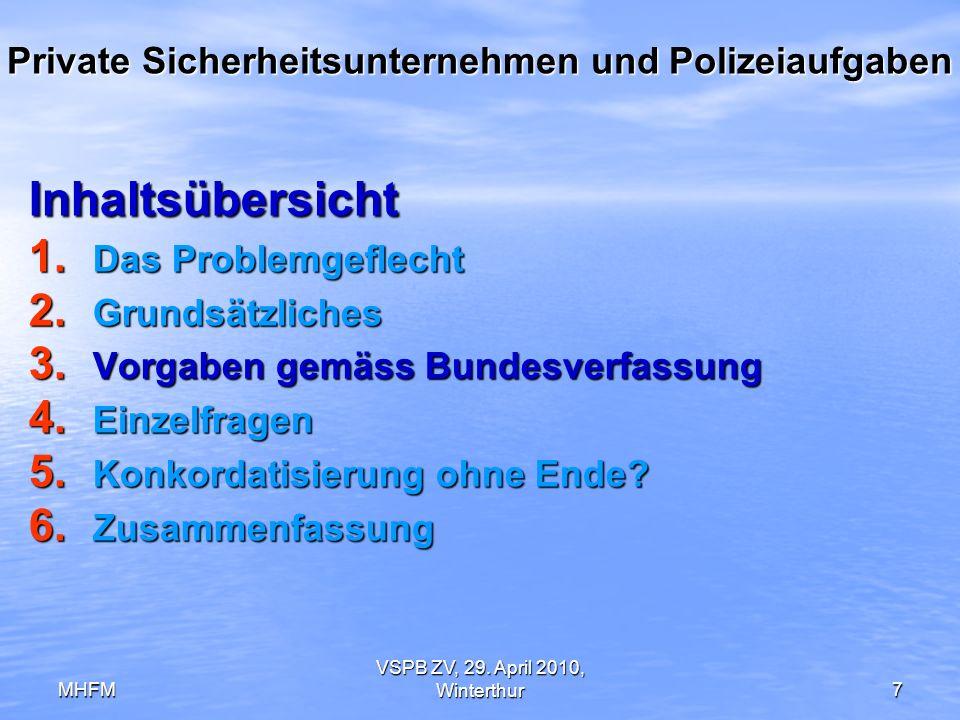 MHFM VSPB ZV, 29. April 2010, Winterthur7 Private Sicherheitsunternehmen und Polizeiaufgaben Inhaltsübersicht 1. Das Problemgeflecht 2. Grundsätzliche