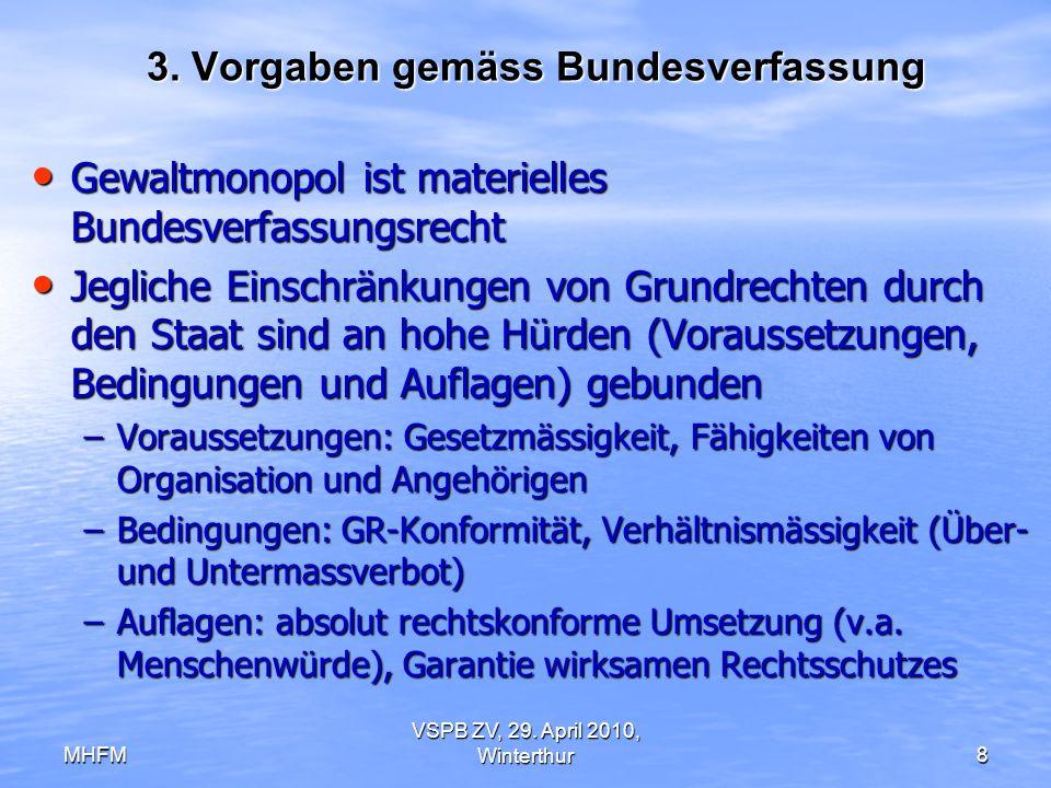 MHFM VSPB ZV, 29. April 2010, Winterthur8 3. Vorgaben gemäss Bundesverfassung Gewaltmonopol ist materielles Bundesverfassungsrecht Gewaltmonopol ist m