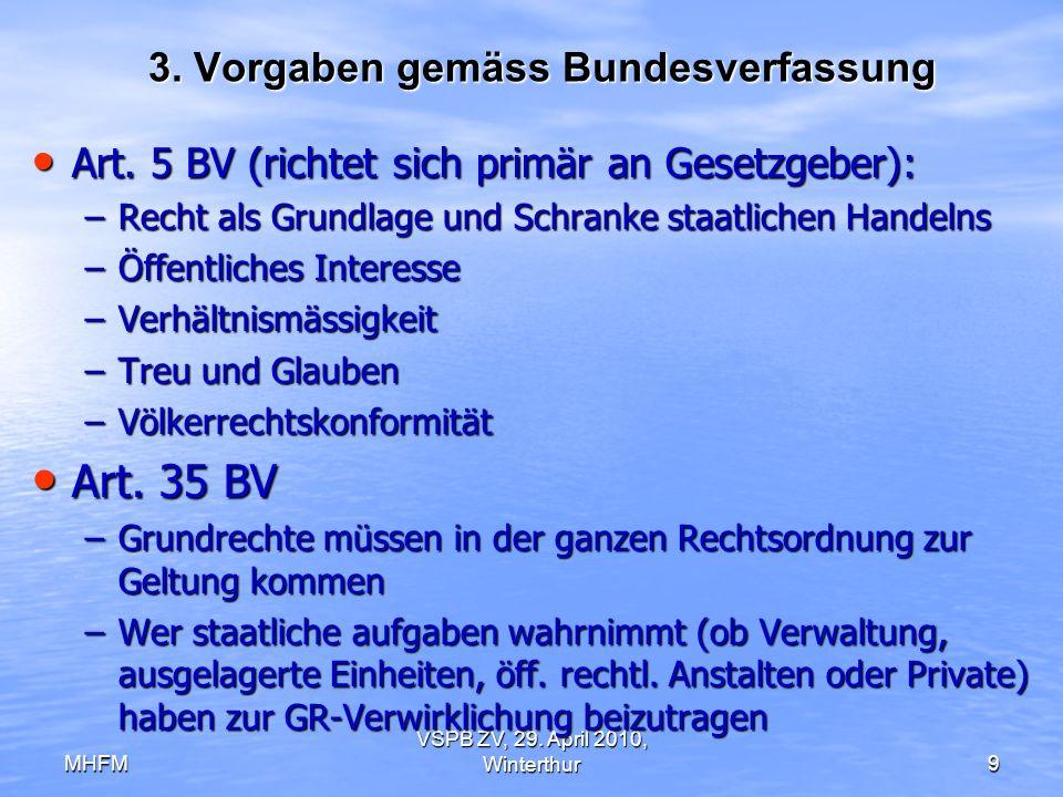 MHFM VSPB ZV, 29. April 2010, Winterthur9 3. Vorgaben gemäss Bundesverfassung Art. 5 BV (richtet sich primär an Gesetzgeber): Art. 5 BV (richtet sich