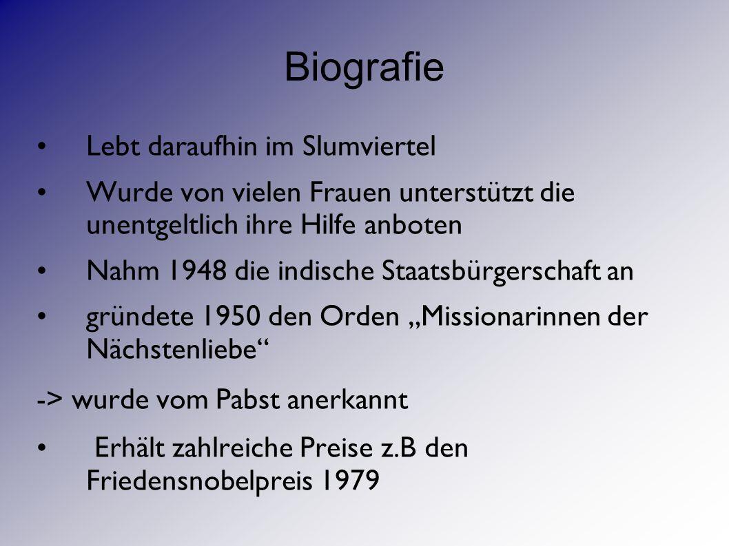 Biografie Sie starb am 5.September 1997 Wurde am 13.