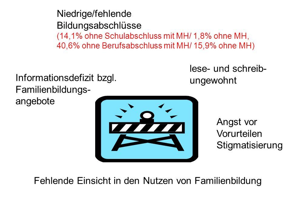 Niedrige/fehlende Bildungsabschlüsse (14,1% ohne Schulabschluss mit MH/ 1,8% ohne MH, 40,6% ohne Berufsabschluss mit MH/ 15,9% ohne MH) lese- und schr