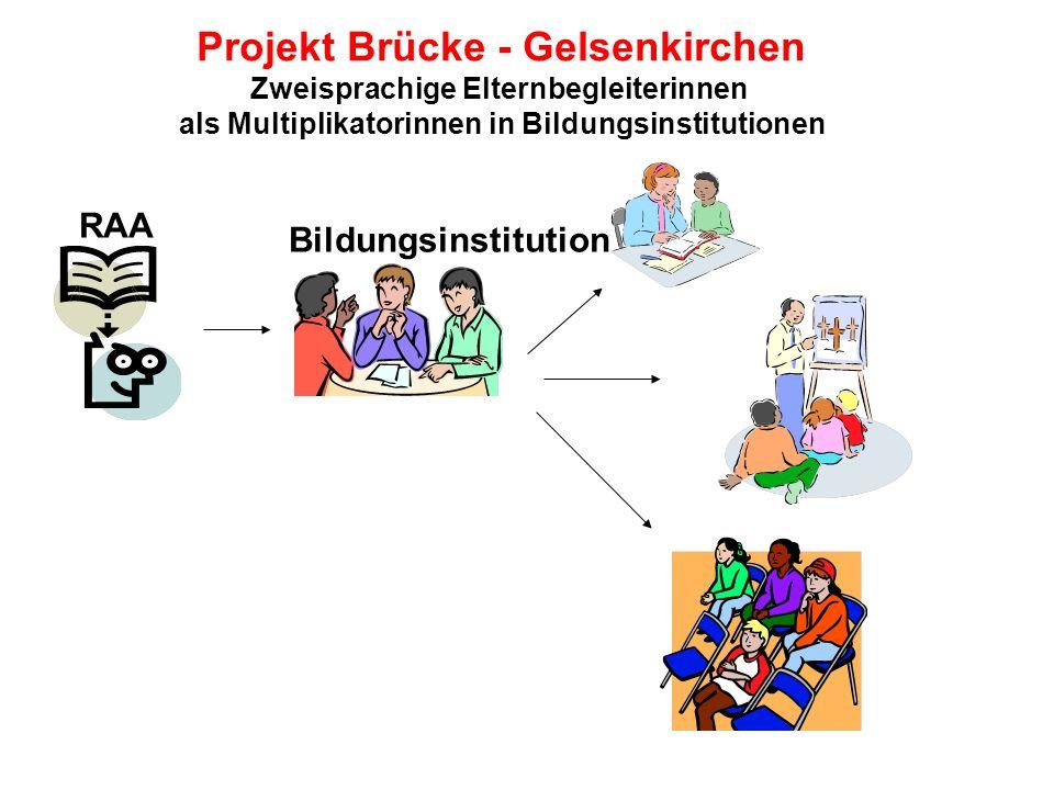 Projekt Brücke - Gelsenkirchen Zweisprachige Elternbegleiterinnen als Multiplikatorinnen in Bildungsinstitutionen RAA Bildungsinstitution