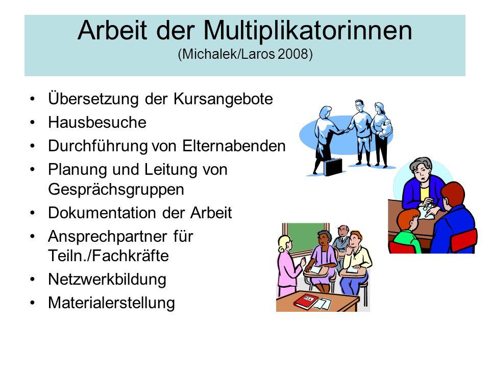 Arbeit der Multiplikatorinnen (Michalek/Laros 2008) Übersetzung der Kursangebote Hausbesuche Durchführung von Elternabenden Planung und Leitung von Ge