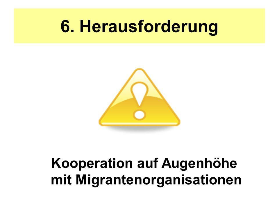 6. Herausforderung Kooperation auf Augenhöhe mit Migrantenorganisationen