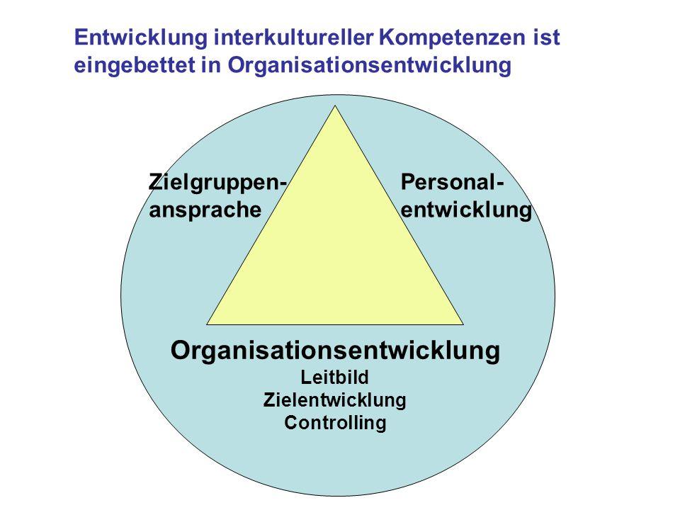Organisationsentwicklung Leitbild Zielentwicklung Controlling Personal- entwicklung Zielgruppen- ansprache Entwicklung interkultureller Kompetenzen is