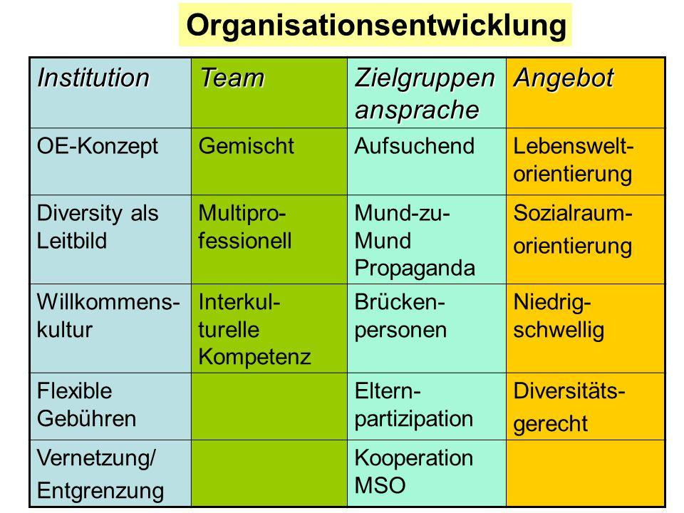 InstitutionTeam Zielgruppen ansprache Angebot OE-KonzeptGemischtAufsuchendLebenswelt- orientierung Diversity als Leitbild Multipro- fessionell Mund-zu