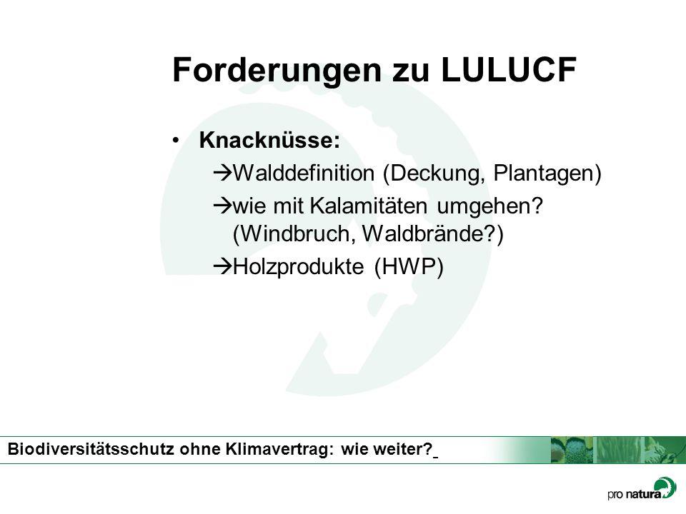 Biodiversitätsschutz ohne Klimavertrag: wie weiter? Forderungen zu LULUCF Knacknüsse: Walddefinition (Deckung, Plantagen) wie mit Kalamitäten umgehen?