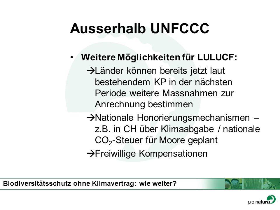 Biodiversitätsschutz ohne Klimavertrag: wie weiter? Ausserhalb UNFCCC Weitere Möglichkeiten für LULUCF: Länder können bereits jetzt laut bestehendem K