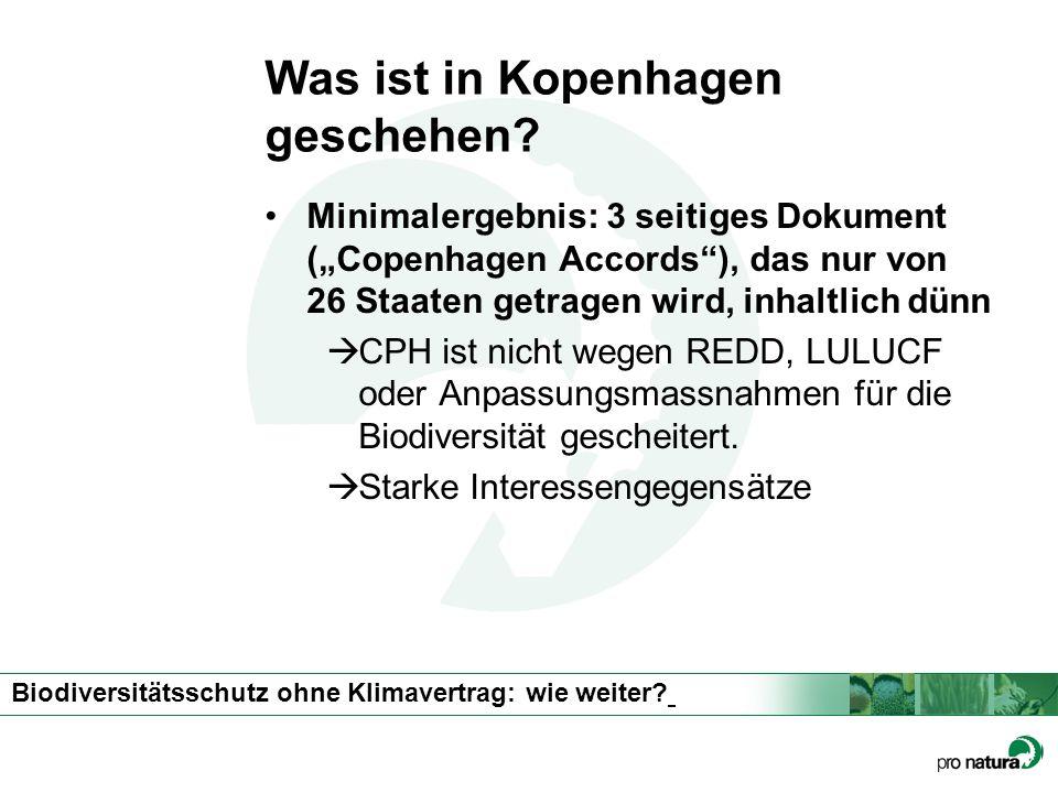 Biodiversitätsschutz ohne Klimavertrag: wie weiter? Was ist in Kopenhagen geschehen? Minimalergebnis: 3 seitiges Dokument (Copenhagen Accords), das nu
