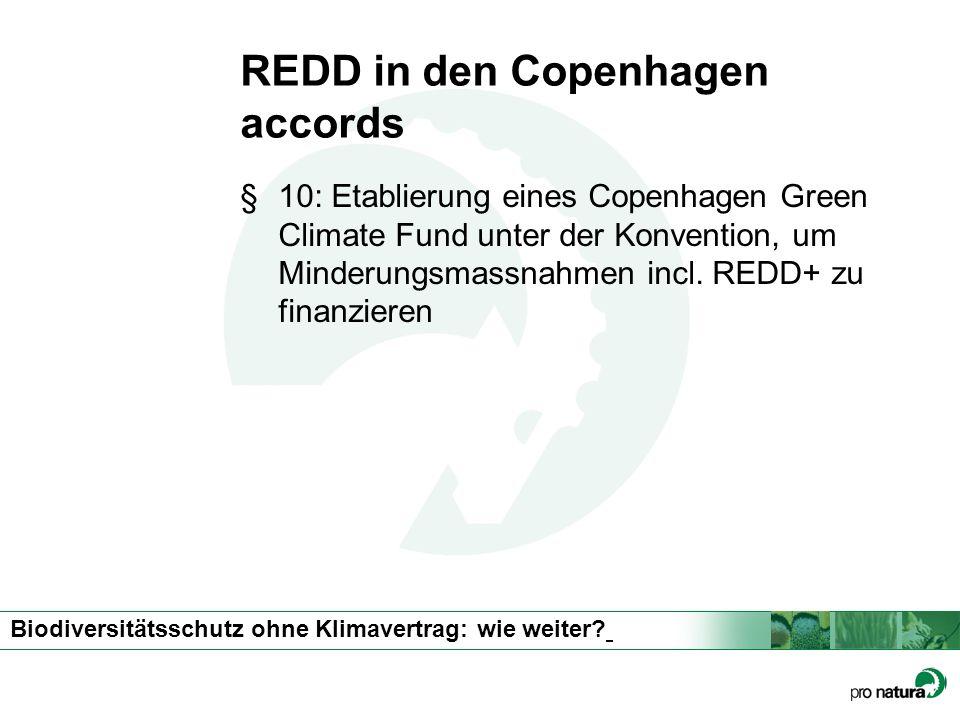 Biodiversitätsschutz ohne Klimavertrag: wie weiter? REDD in den Copenhagen accords §10: Etablierung eines Copenhagen Green Climate Fund unter der Konv