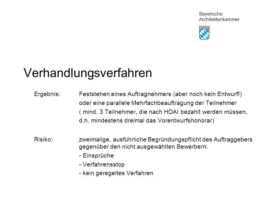 Bayerische Architektenkammer Planungswettbewerbe dienen dem Ziel, alternative Planungen auf der Grundlage der GRW 1995 zu erhalten und können im Übrigen auch jederzeit vor, während oder ohne einem Verhandlungsverfahren durchgeführt werden.