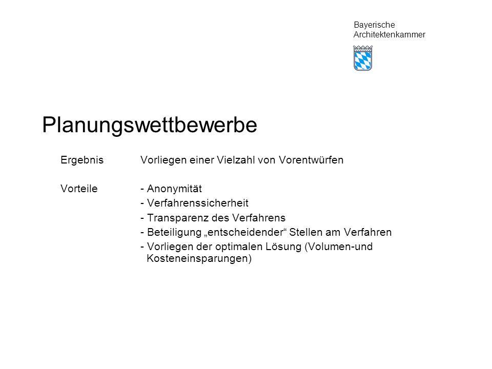 Bayerische Architektenkammer Planungswettbewerbe ErgebnisVorliegen einer Vielzahl von Vorentwürfen Vorteile- Anonymität - Verfahrenssicherheit - Transparenz des Verfahrens - Beteiligung entscheidender Stellen am Verfahren - Vorliegen der optimalen Lösung (Volumen-und Kosteneinsparungen)