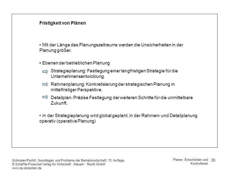 35 Schmalen/Pechtl, Grundlagen und Probleme der Betriebswirtschaft, 13. Auflage. © Schäffer-Poeschel Verlag für Wirtschaft Steuern Recht GmbH www.sp-d