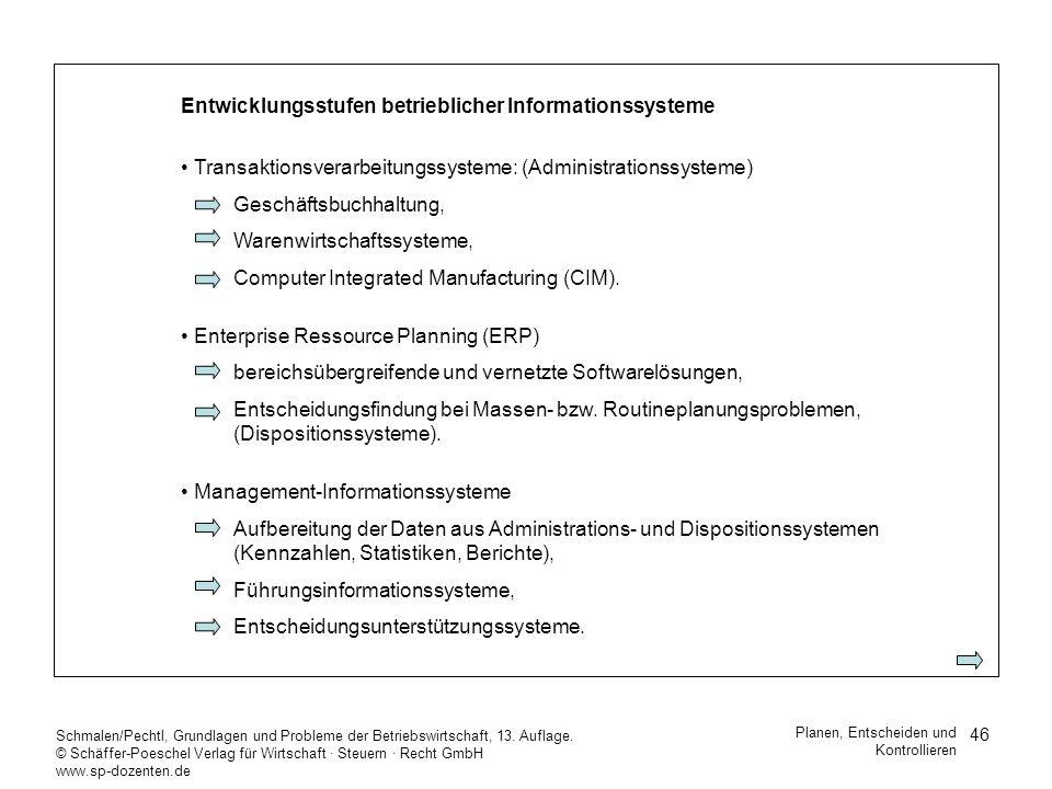 46 Schmalen/Pechtl, Grundlagen und Probleme der Betriebswirtschaft, 13. Auflage. © Schäffer-Poeschel Verlag für Wirtschaft Steuern Recht GmbH www.sp-d
