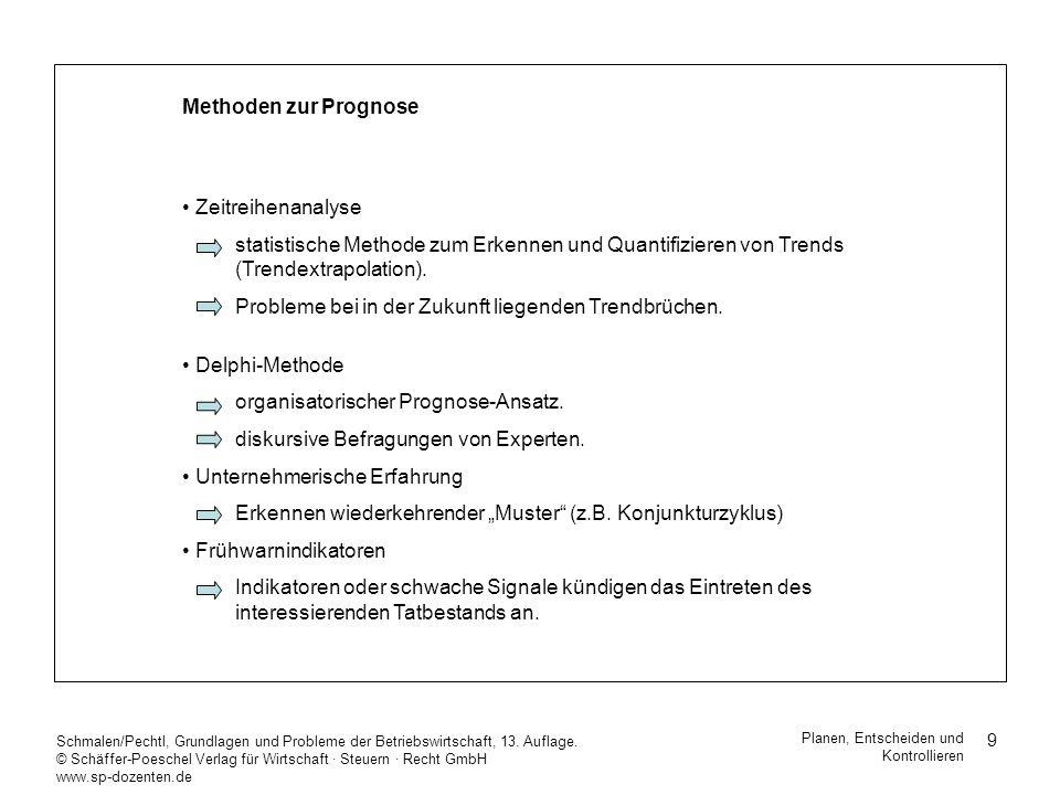 9 Schmalen/Pechtl, Grundlagen und Probleme der Betriebswirtschaft, 13. Auflage. © Schäffer-Poeschel Verlag für Wirtschaft Steuern Recht GmbH www.sp-do