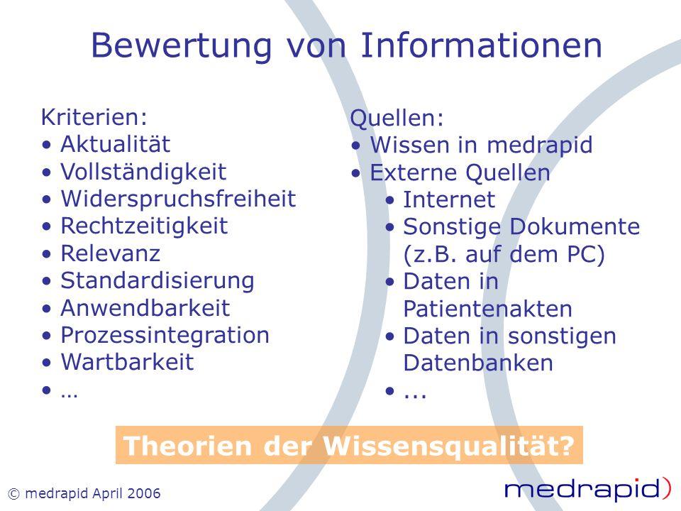© medrapid April 2006 Bewertung von Informationen Kriterien: Aktualität Vollständigkeit Widerspruchsfreiheit Rechtzeitigkeit Relevanz Standardisierung