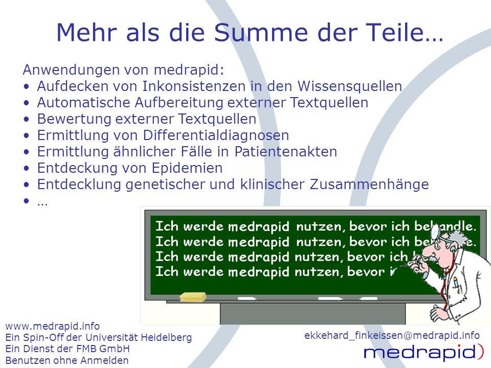 © medrapid April 2006 Mehr als die Summe der Teile… ekkehard_finkeissen@medrapid.info www.medrapid.info Ein Spin-Off der Universität Heidelberg Ein Di