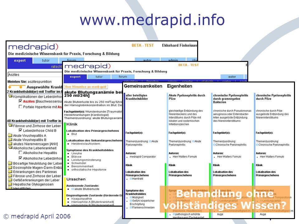 © medrapid April 2006 www.medrapid.info Behandlung ohne vollständiges Wissen?